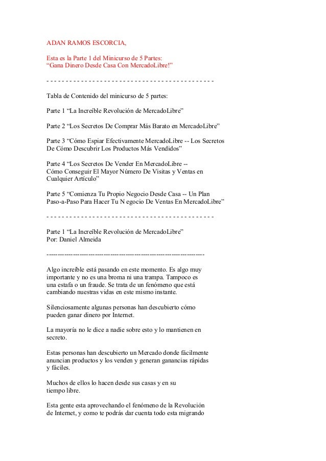 """ADAN RAMOS ESCORCIA, Esta es la Parte 1 del Minicurso de 5 Partes: """"Gana Dinero Desde Casa Con MercadoLibre!"""" ------------..."""