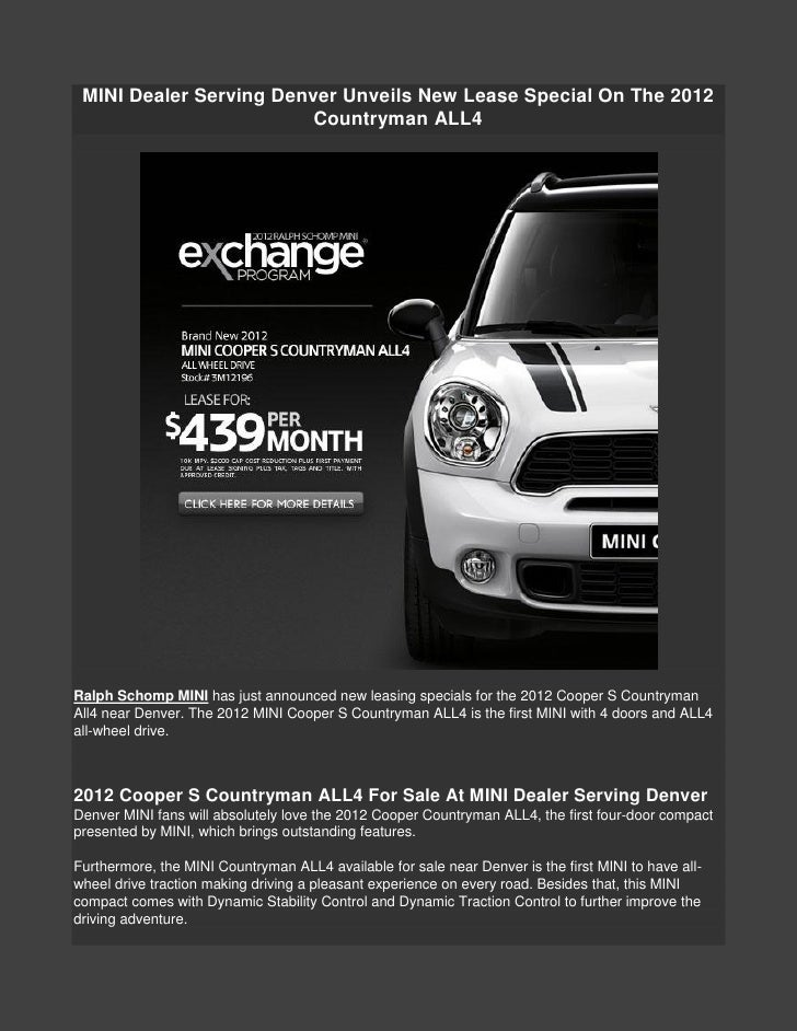 Mini Cooper Dealers >> Mini Dealer Serving Denver Unveils New Lease Special On The