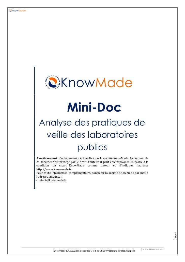 KnowMade                         Mini-Doc  Analyse des pratiques de   veille des laboratoires           publics Avertissem...