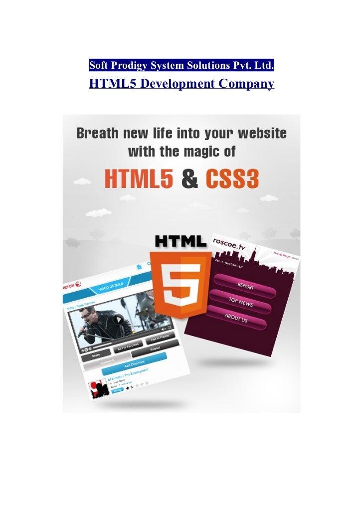 Soft Prodigy System Solutions Pvt. Ltd.HTML5 Development Company