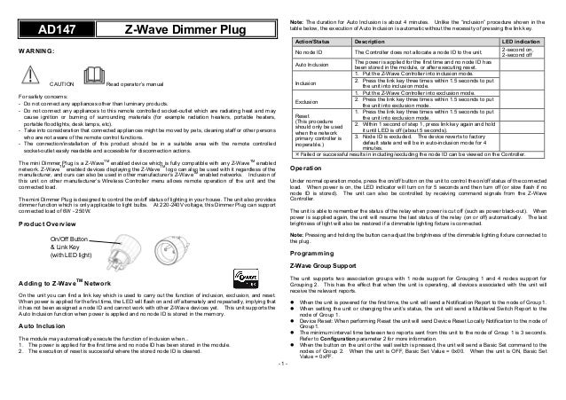 Mini Socket Dimmer Z Wave Everspring Manual