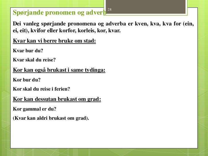 pronomen nynorsk