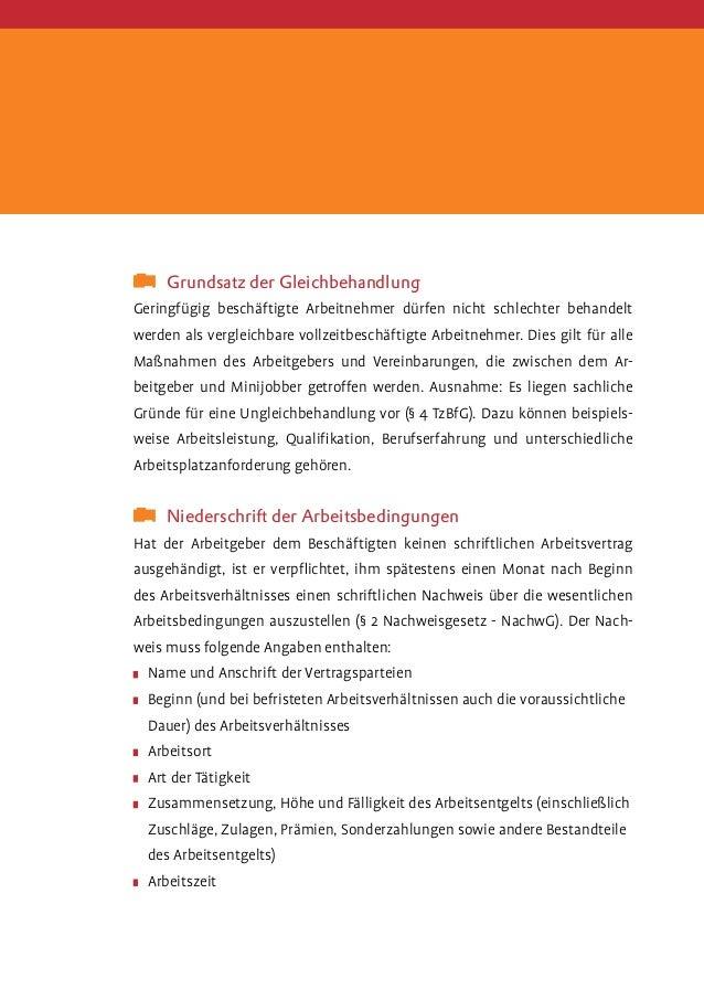Minijobs Merkblatt Zum Arbeitsrecht