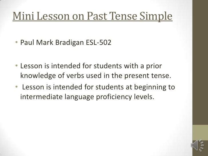 mini lesson on past tense simple