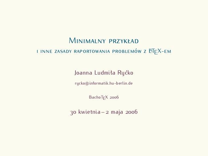 M                                 LTEX-                                 A     Joanna Ludmiła Ryćko rycko@informatik.hu-ber...