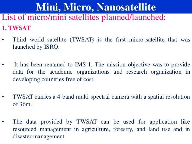 Mini, micro, nanosatellite