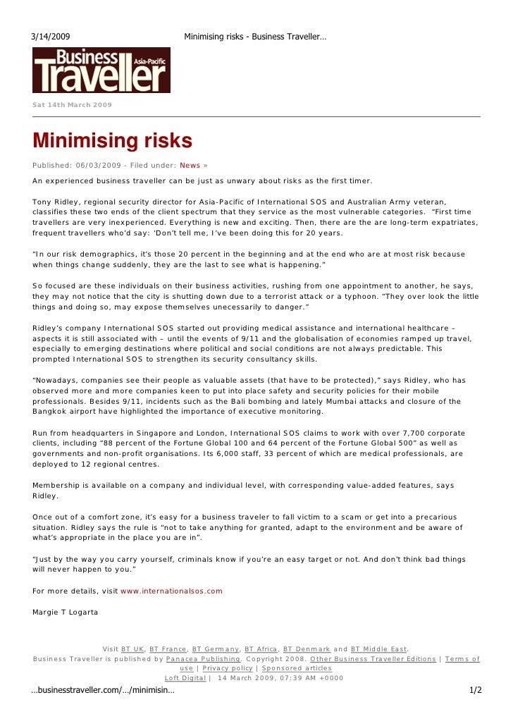3/14/2009                                   Minimising risks - Business Traveller…     Sat 14th March 2009     Minimising ...