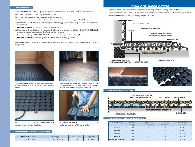 ADVANTAGES Minimodulo dim. Package n° pieces Equal to cm. 50x50 h. 3 cm. 110x110x210 720 m2 180 DIMENSIONS AND PACKAGING W...
