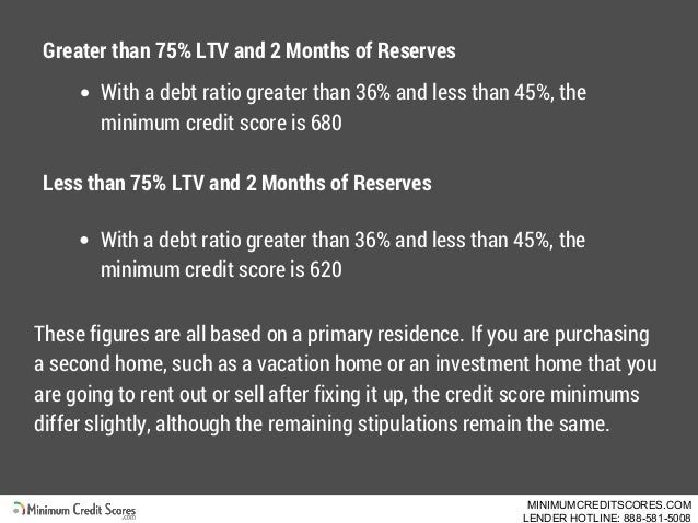 Greater than 75% LTV and 2 Months of Reserves With a debt ratio greater than 36% and less than 45%, the minimum credit sco...