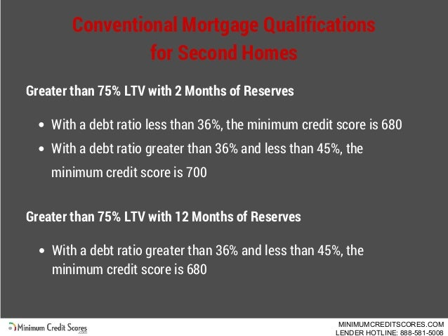 Conventional Mortgage Qualifications for Second Homes Greater than 75% LTV with 2 Months of Reserves With a debt ratio les...