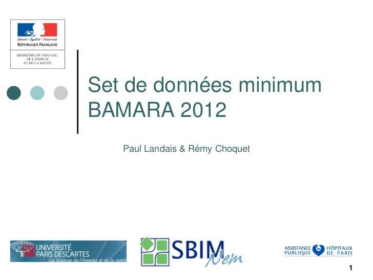 Set de données minimumBAMARA 2012   Paul Landais & Rémy Choquet                                 1