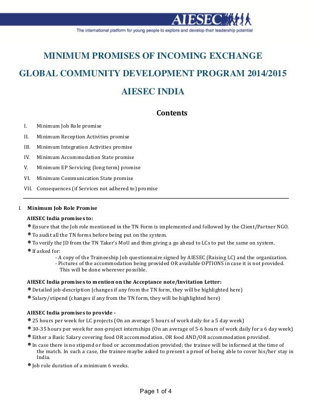 Minimum delivery promise from aiesec india minimum promises of incoming exchange global community development program 20142015 aiesec india contents i stopboris Images