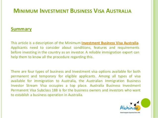 Business and investment visa options