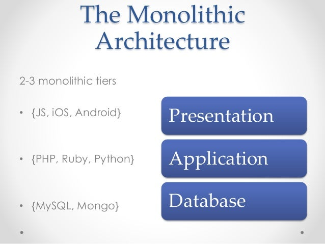 The Monolithic  Architecture  2-3 monolithic tiers  • {JS, iOS, Android}  • {PHP, Ruby, Python}  • {MySQL, Mongo}  Present...