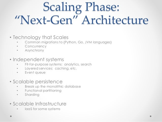 """Scaling Phase:  """"Next-Gen"""" Architecture  • Technology that Scales  • Common migrations to {Python, Go, JVM languages}  • C..."""
