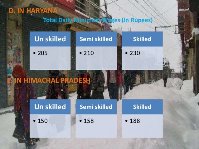 D. IN HARYANA Total Daily Minimum Wages (In Rupees)  Un skilled  Semi skilled  • 205  • 210  Skilled • 230  E. IN HIMACHAL...