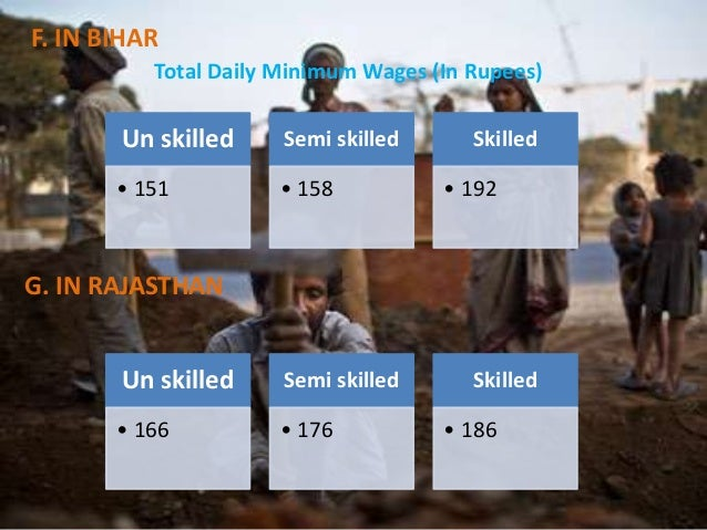 F. IN BIHAR Total Daily Minimum Wages (In Rupees)  Un skilled  Semi skilled  • 151  • 158  Skilled • 192  G. IN RAJASTHAN ...