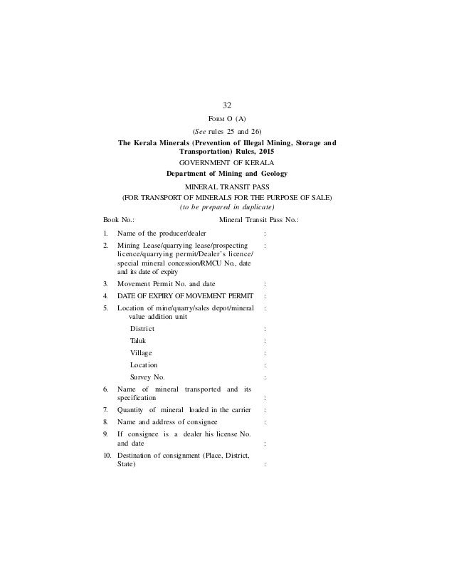 Illegal Mining And Transportation Rule 2015
