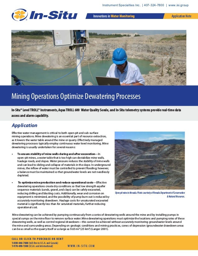 Mining Operations Optimize Dewatering Processes In-Situ® LevelTROLL® Instruments, AquaTROLL 600 Water Quality Sonde, and I...