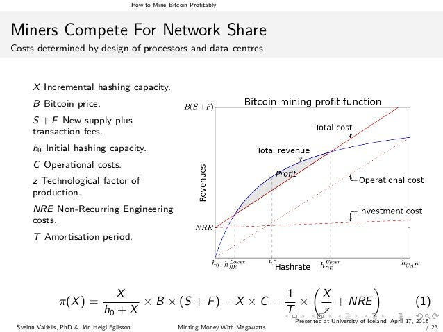 How to Mine Bitcoin Profitably Miners Compete For Network Share Costs determined by design of processors and data centres X...