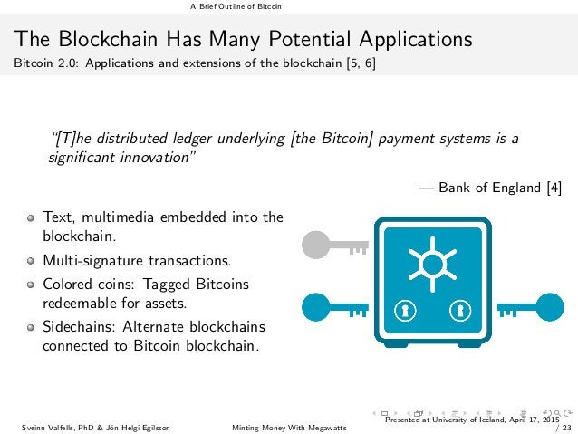 A Brief Outline of Bitcoin The Blockchain Has Many Potential Applications Bitcoin 2.0: Applications and extensions of the ...