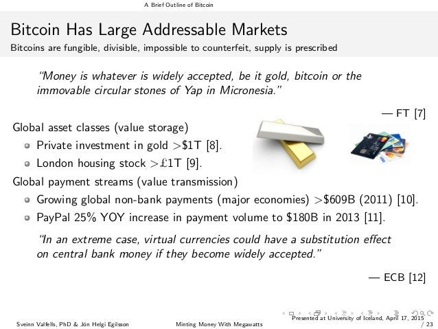 A Brief Outline of Bitcoin Bitcoin Has Large Addressable Markets Bitcoins are fungible, divisible, impossible to counterfe...