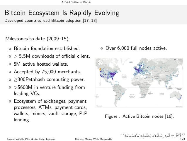 A Brief Outline of Bitcoin Bitcoin Ecosystem Is Rapidly Evolving Developed countries lead Bitcoin adoption [17, 18] Milest...