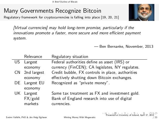 A Brief Outline of Bitcoin Many Governments Recognize Bitcoin Regulatory framework for cryptocurrencies is falling into pl...