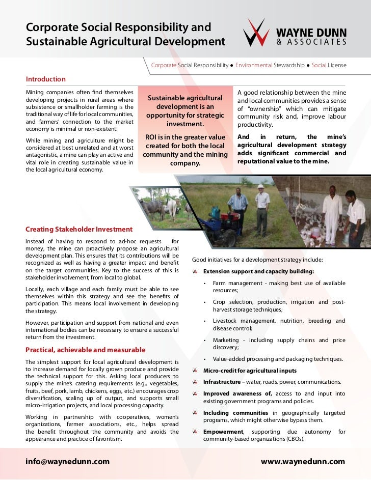 Corporate Social Responsibility andSustainable Agricultural Development                                                   ...