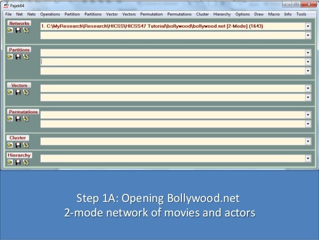 Step 1A: Opening Bollywood.net : 2-mode network of movies and actors
