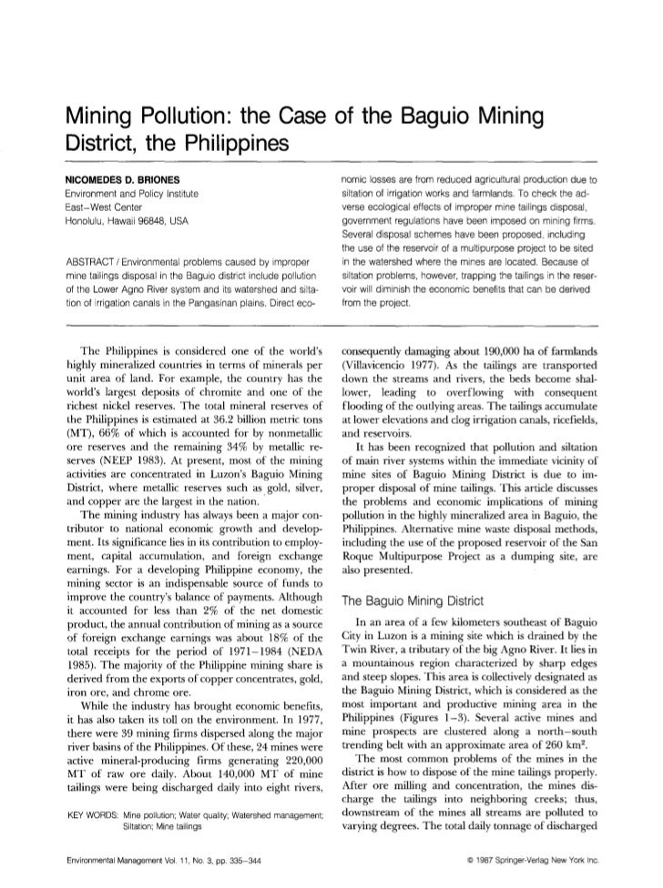 Mining Pollution: the Case of the Baguio MiningDistrict, the PhilippinesNICOMEDES D. BRIONES                              ...