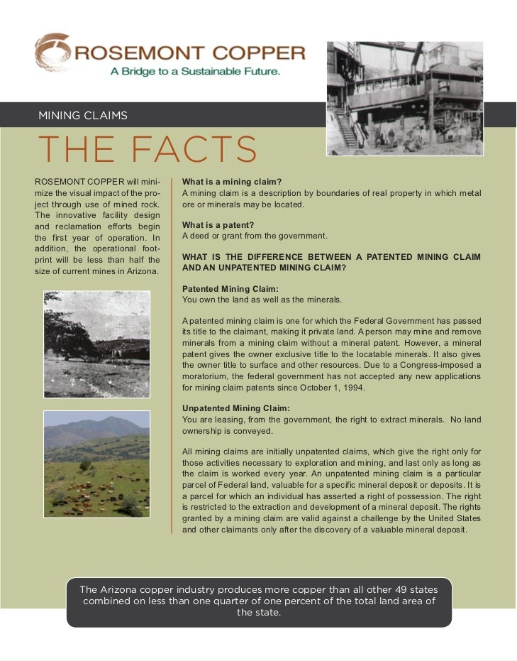 MINING CLAIMSTHE FACTSROSEMONT COPPER will mini-           What is a mining claim?mize the visual impact of the pro-   A m...