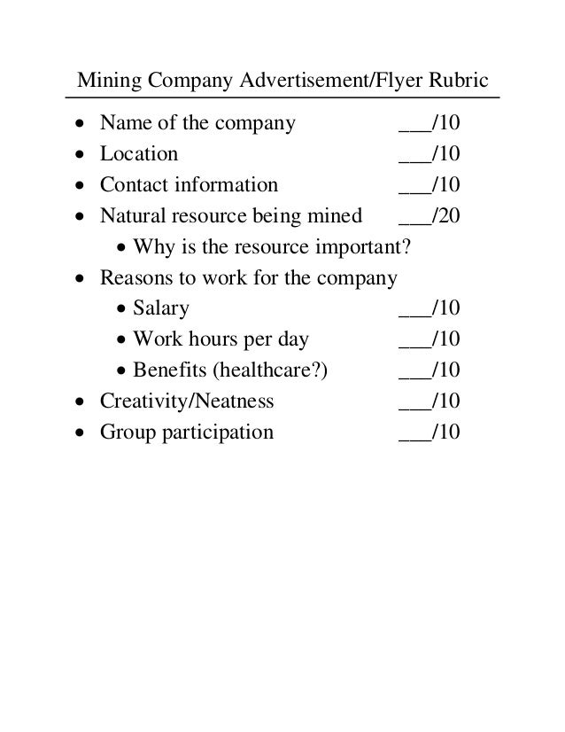 Mining Company Advertisement/Flyer Rubric Name of the company             ___/10 Location                        ___/10...