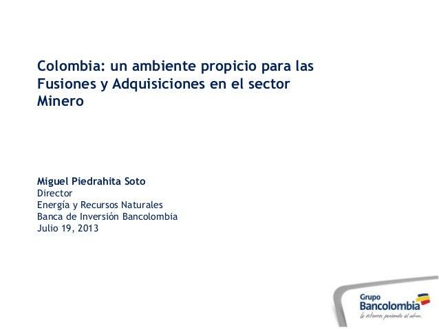 Colombia: un ambiente propicio para las Fusiones y Adquisiciones en el sector Minero Miguel Piedrahita Soto Director Energ...