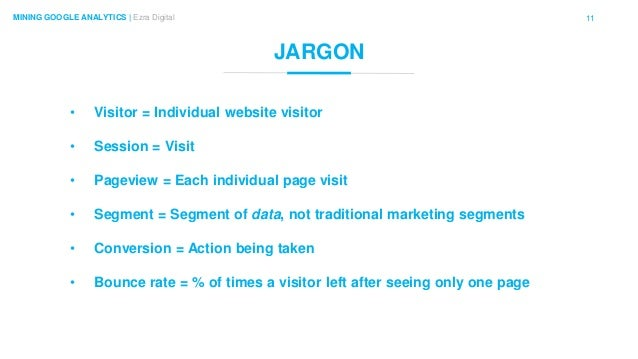 11MINING GOOGLE ANALYTICS | Ezra Digital JARGON • Visitor = Individual website visitor • Session = Visit • Pageview = Each...