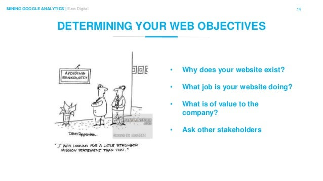 14MINING GOOGLE ANALYTICS | Ezra Digital DETERMINING YOUR WEB OBJECTIVES • Why does your website exist? • What job is your...