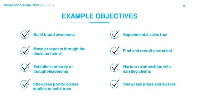 15MINING GOOGLE ANALYTICS | Ezra Digital EXAMPLE OBJECTIVES Build brand awareness Showcase portfolio/case studies to build...