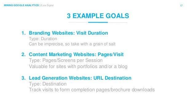 17MINING GOOGLE ANALYTICS | Ezra Digital 3 EXAMPLE GOALS 1. Branding Websites: Visit Duration Type: Duration Can be imprec...