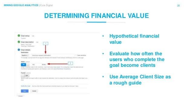 20MINING GOOGLE ANALYTICS | Ezra Digital DETERMINING FINANCIAL VALUE • Hypothetical financial value • Evaluate how often t...