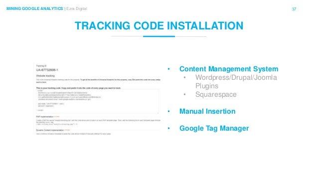 37MINING GOOGLE ANALYTICS | Ezra Digital TRACKING CODE INSTALLATION • Content Management System • Wordpress/Drupal/Joomla ...