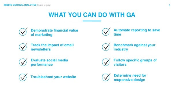 8MINING GOOGLE ANALYTICS | Ezra Digital WHAT YOU CAN DO WITH GA Demonstrate financial value of marketing Troubleshoot your...