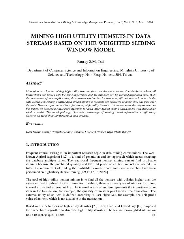 International Journal of Data Mining & Knowledge Management Process (IJDKP) Vol.4, No.2, March 2014 DOI : 10.5121/ijdkp.20...