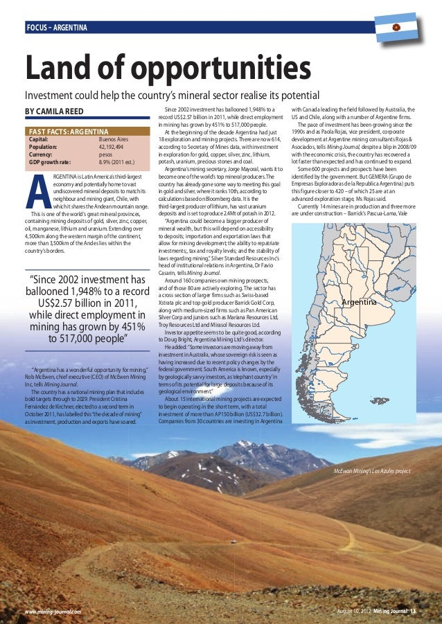 August 10, 2012 Mining Journal 13www.mining-journal.com Focus – ArgentinA A RGENTINA is Latin America's third-largest econ...