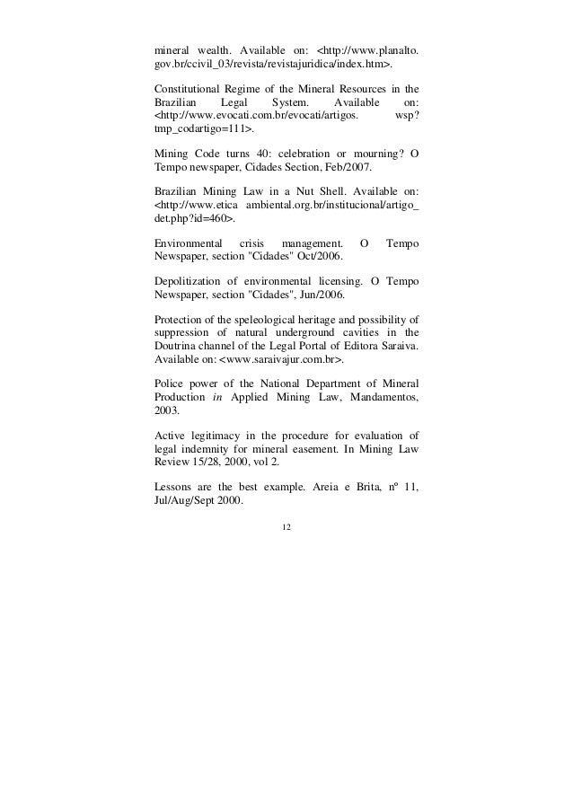 12 mineral wealth. Available on: <http://www.planalto. gov.br/ccivil_03/revista/revistajuridica/index.htm>. Constitutional...