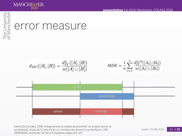 presentation 1st AHA! Workshop, COLING 2014  Dublin, 23/08/2014 / 25  error measure  gold  prediction  Fatima De Carvalho....