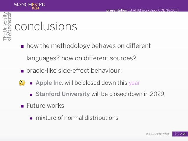 presentation 1st AHA! Workshop, COLING 2014  conclusions  ■ how the methodology behaves on different  Dublin, 23/08/2014 /...