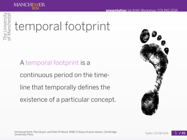 presentation 1st AHA! Workshop, COLING 2014  Dublin, 23/08/2014 / 25  temporal footprint  A temporal footprint is a  conti...