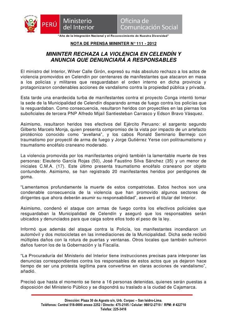 """""""Año de la Integración Nacional y el Reconocimiento de Nuestra Diversidad""""                             NOTA DE PRENSA MINI..."""