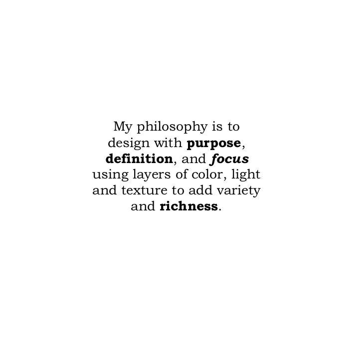 Interior design philosophy statement