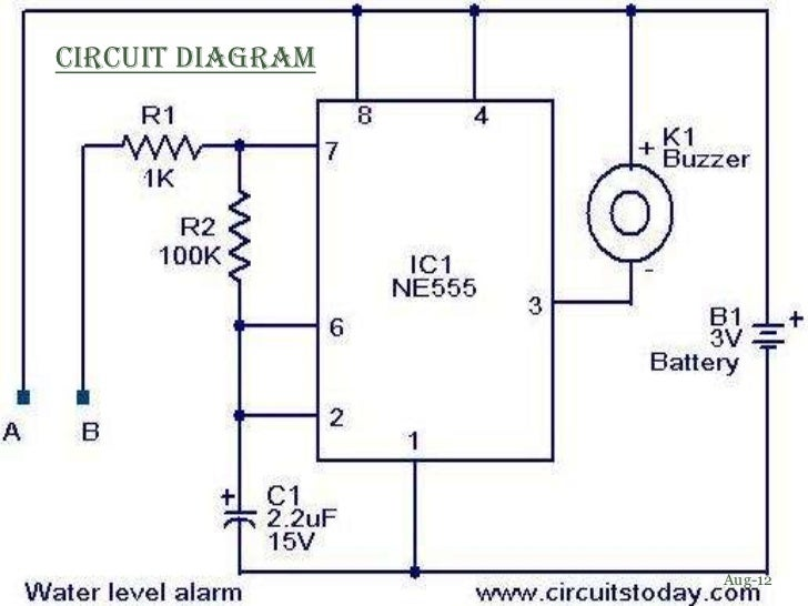 water level indicator with alarm circuit details Water level detector(using 555 timer ic)  water-level controller circuit are connected to the  water level indicator with alarm.